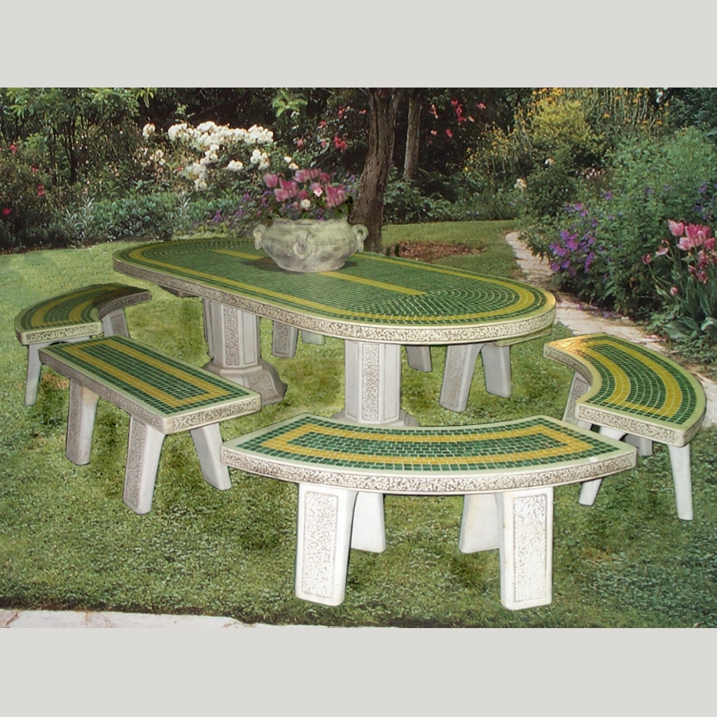 Tavoli Cemento Da Giardino.Completo Ovale Mediterraneo