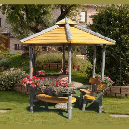 Gazebo esagonale miccich architetture da giardino for Gazebo in legno usato