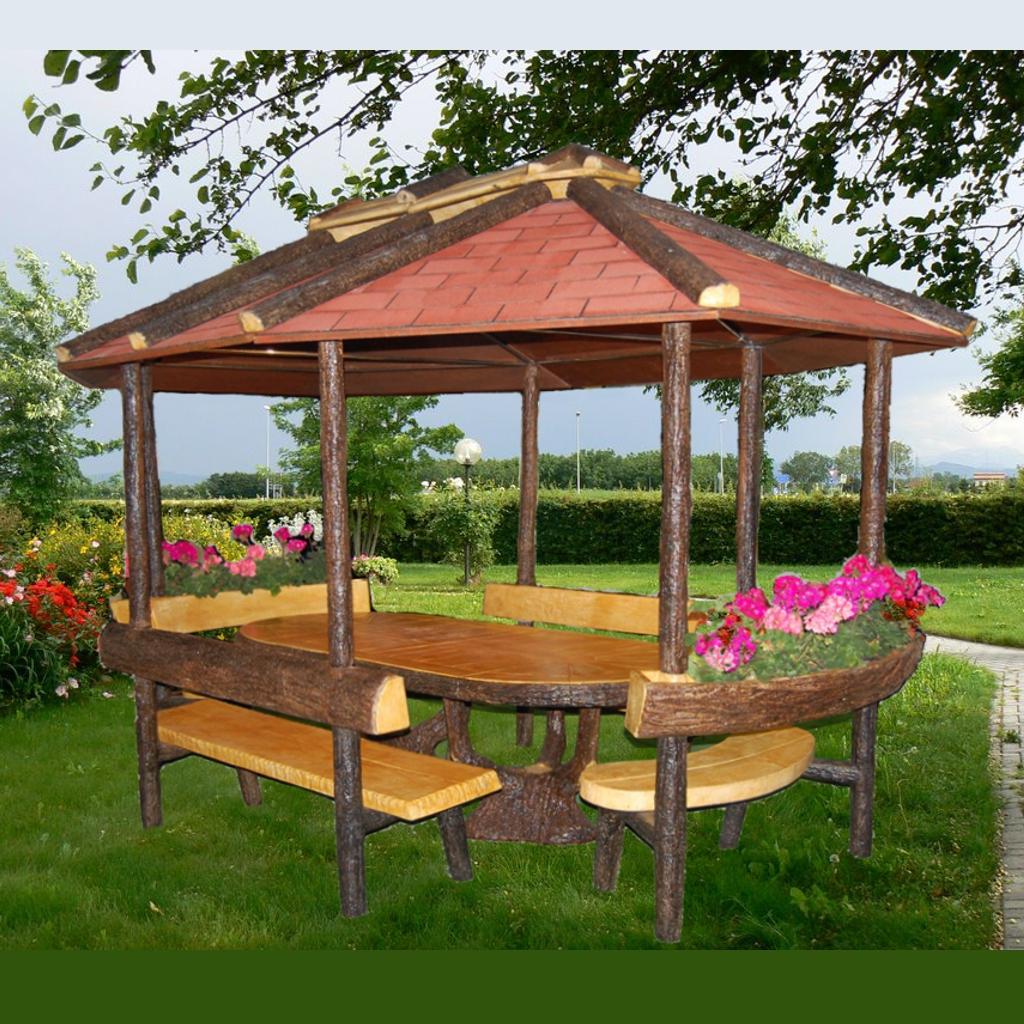 Gazebo ovale miccich architetture da giardino for Gazebo in legno bricoman