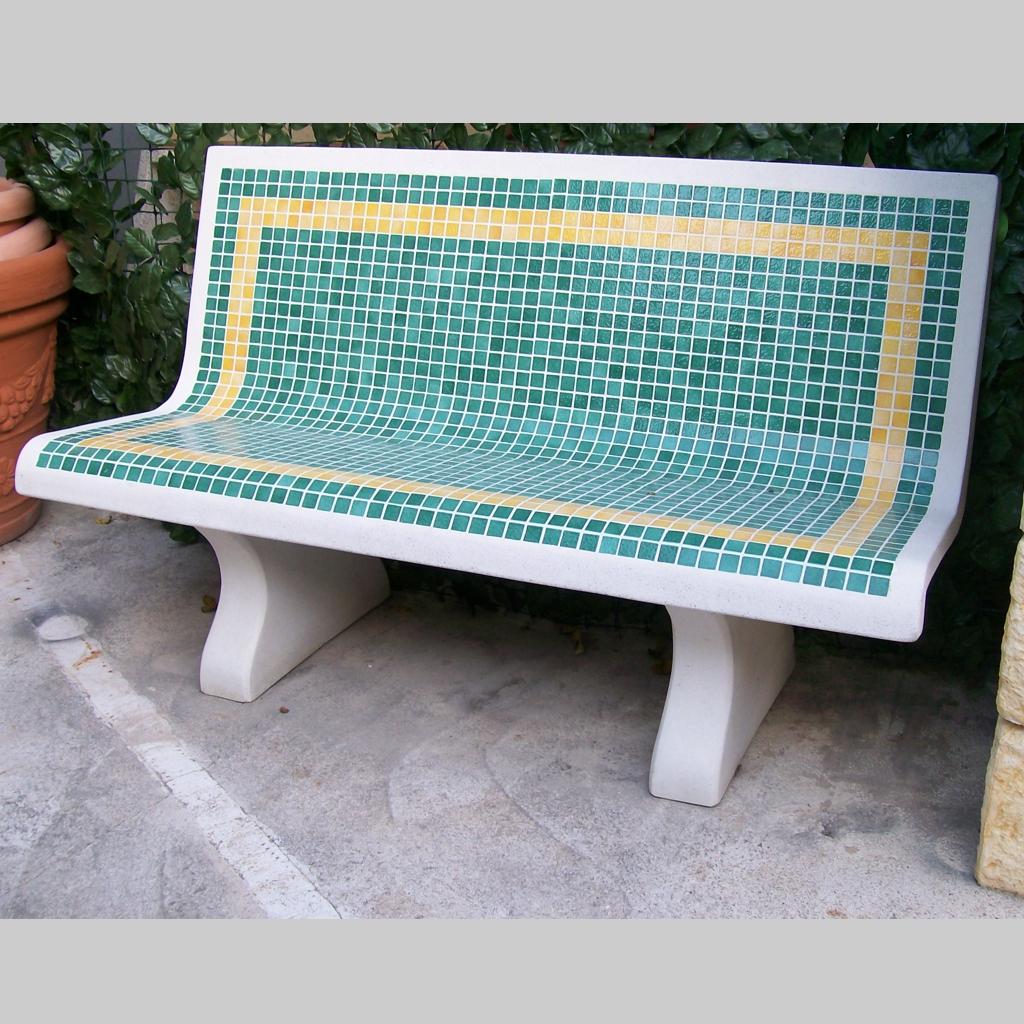 Panca Mediterraneo Con Mosaico Micciche Architetture Da Giardino