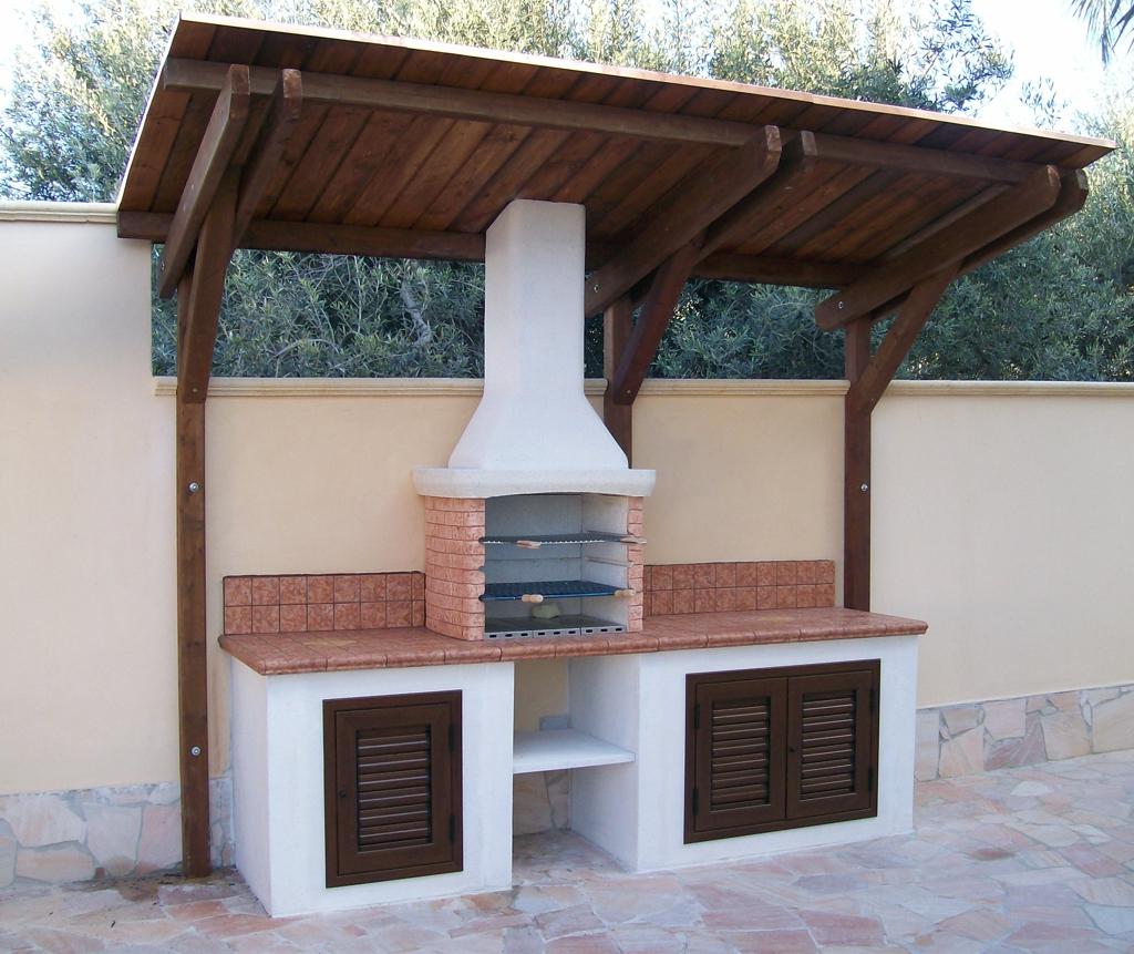 Cucina prefabbricata da esterno mod ouk18 miccich architetture da giardino - Cucina esterna in muratura con barbecue ...